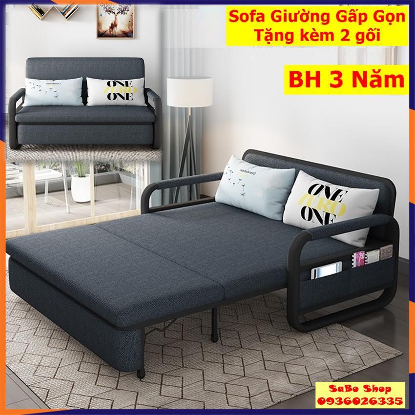 [Siêu Sale] Giường Sofa Thông Minh Gấp Gọn Tặng Kèm Gối Tựa KT 1m5x1m9