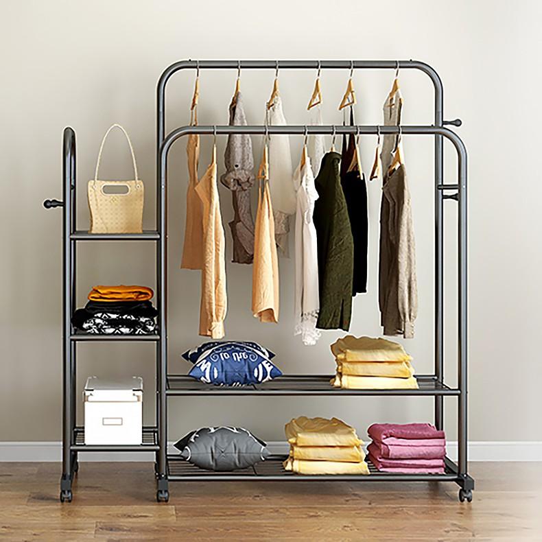 [𝐊𝐞̀𝐦 𝐛𝐚́𝐧𝐡 𝐱𝐞] Giá kệ treo quần áo 2 thanh TIỆN LỢI, kèm các tầng để đồ
