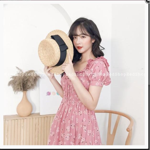 XẢ KHO_ Váy Xòe Ốp Nẹp Tay Bồng Hồng Redshop_Ảnh Thật