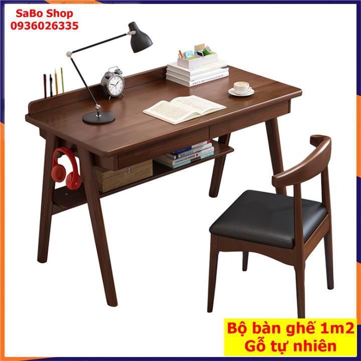 Bàn làm việc [Kèm Ghế] Bộ bàn ghế làm việc, Bàn gỗ tự nhiên cao cấp, rộng 120cm