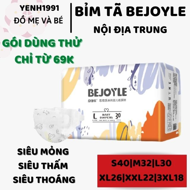 (Gói nhỏ) Bỉm tã Bejoyie L30 L60 xl26 xxl22 3xl18 ( Bejoyle)