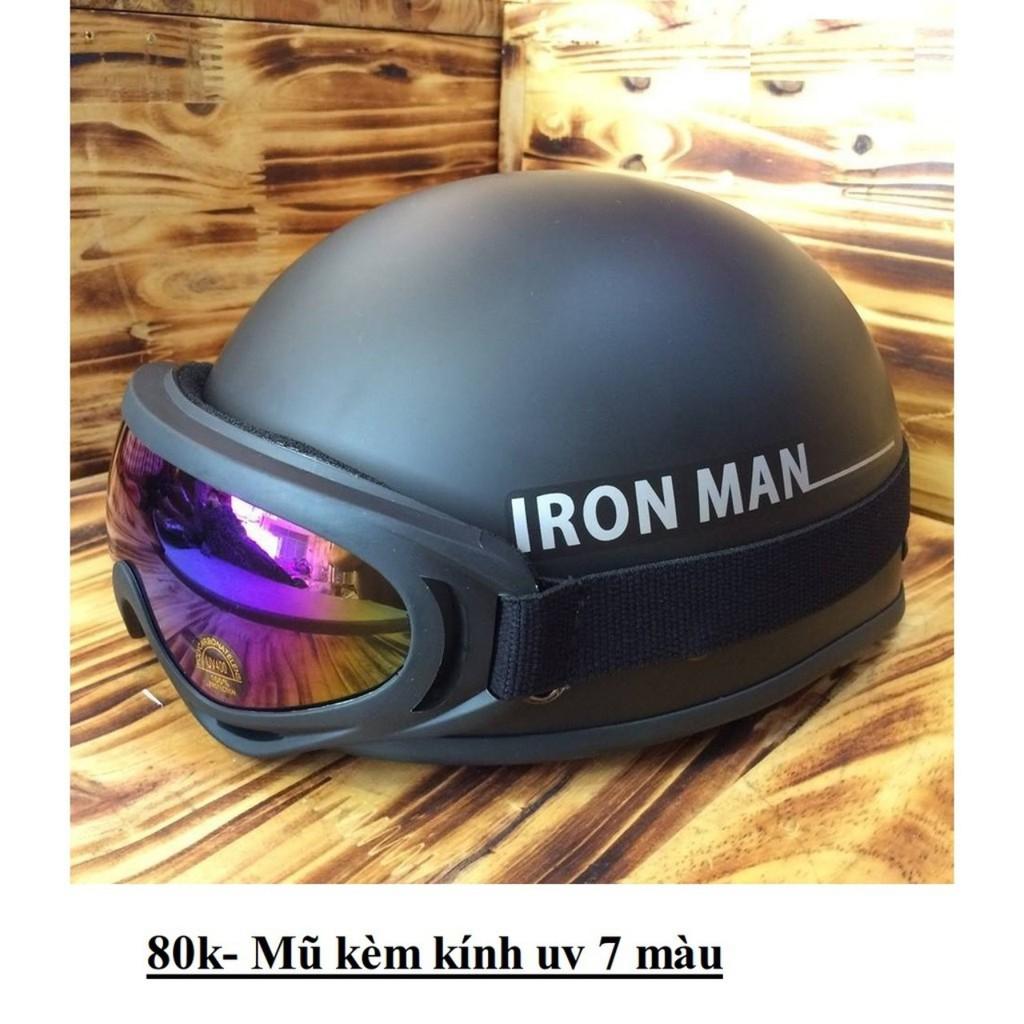 (Kèm Kính) Mũ Bảo Hiểm Teem Iron Man ( Người Sắt), Nón Bảo Hiểm Nửa Đầu Đi Phượt