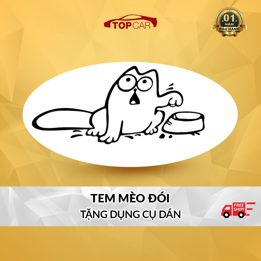 ⚡️FREESHIP TỪ 50K - TOÀN QUỐC⚡️ Nhãn Dán Bình Xăng Hình Chú Mèo Đòi Ăn Siêu Dễ Thương Kèm Dụng Cụ Dán Tiện Lợi