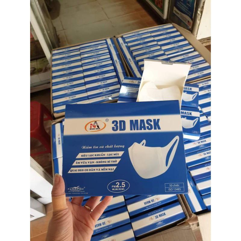 [Mã 66FMCGSALE hoàn 8% xu đơn 500K] (Chính hãng) Hộp khẩu trang 3d mask Nam Anh công nghệ Nhật