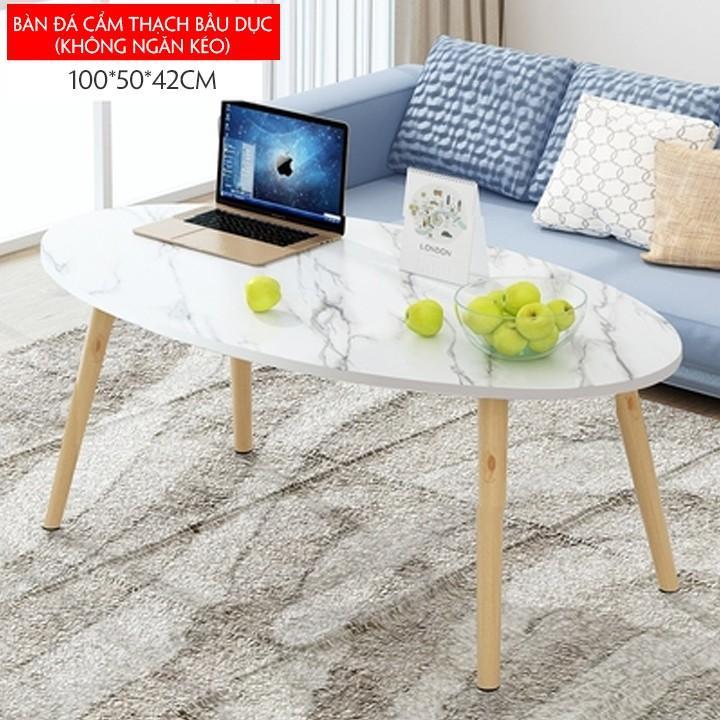 [Sẵn kho] Bàn trà sofa hình bầu dục, chất liệu gỗ (100*50*42cm)