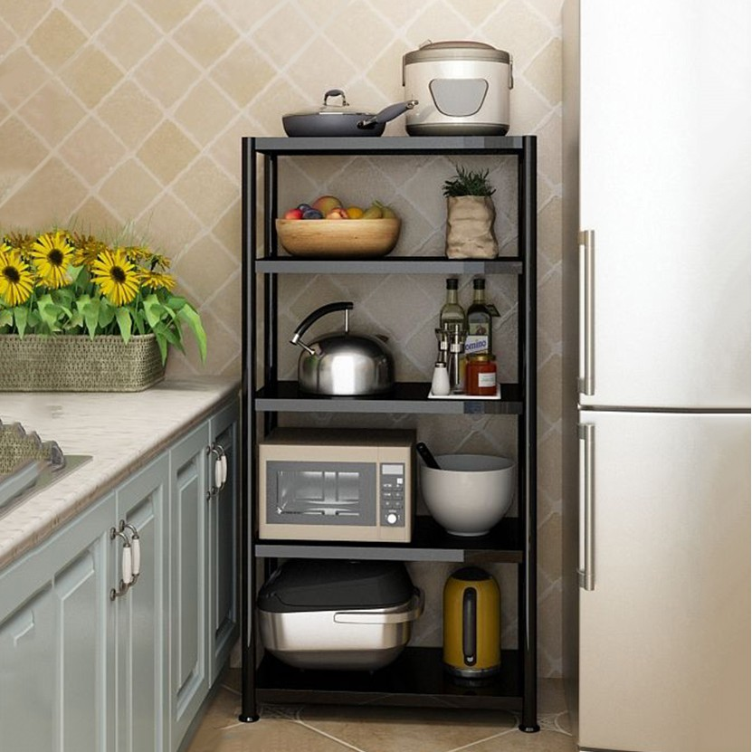 [𝗙𝗿𝗲𝗲𝘀𝗵𝗶𝗽] (Loại 80cm) Kệ đen inox để đồ nhà bếp, lò vi sóng, nồi cơm điện CAO CẤP, sơn đen CHỐNG HAN GỈ