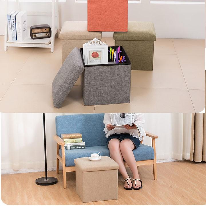 Đôn ghê, Ghế ngồi đa năng kiêm hộp chứa đồ kích thước 38*38*38