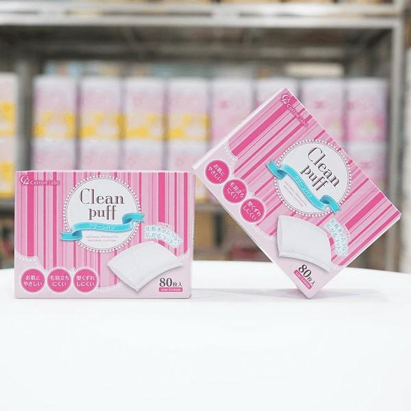 Bông tẩy trang Clean Puff cao cấp số 1 Nhật Bản 80 miếng
