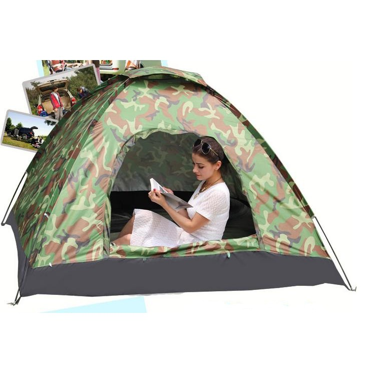 Lều phượt cắm trại vải dù rằn ri , lều du lịch 2 lớp nhiều màu, picnic gia đình , chống muỗi , chống nước cho 2-3 người