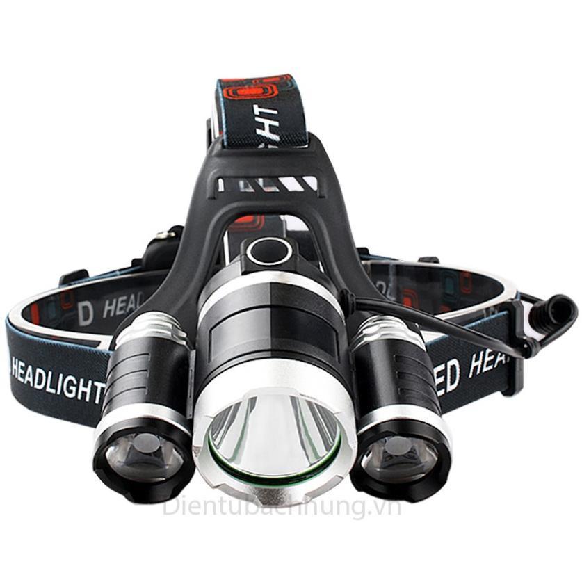ĐÈN PIN ♥️FREESHIP♥️ Đèn Pin Đội Đầu 3 Bóng Led T6- Siêu Sáng, Kèm 2 Pin, Kèm Sạc