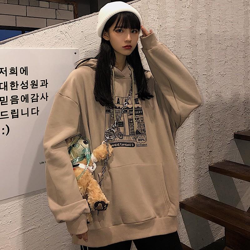 Áo Hoodie Ulzzang Nữ Tay Rộng Phong Cách Hàn Quốc HD69 - Liti shop