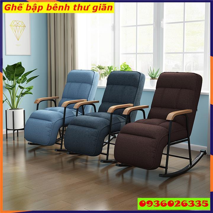 Ghế bập bênh thư giãn, ghế sofa bập bênh khung sắt cao cấp, có thể ngả thành giường