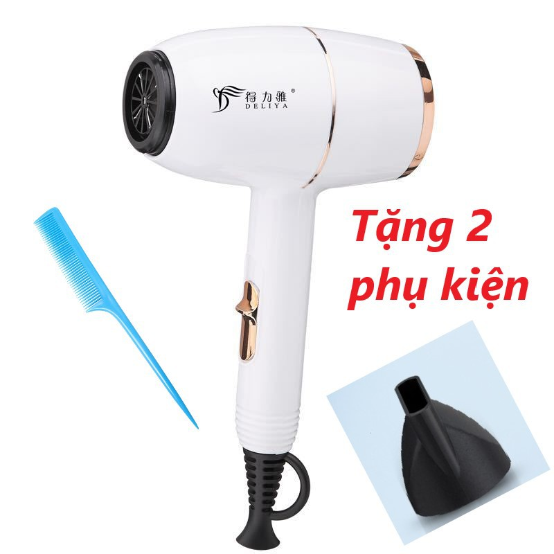 Máy sấy tóc gia đình Deliya 8016 công suất cao kiểu dáng đẹp màu trắng và đỏ búa mini, tặng kèm bộ phụ kiện 2 chi tiết