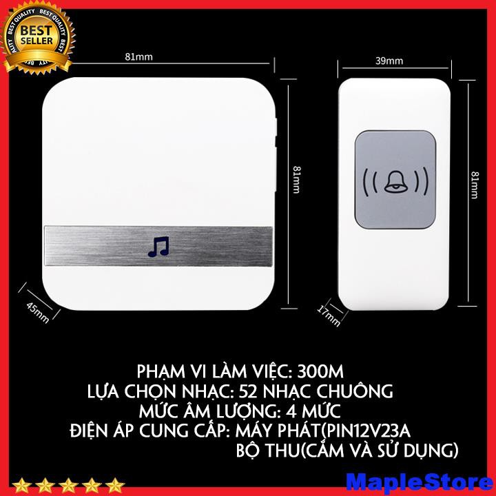Chuông cửa cao cấp 212-1 (52 kiểu chuông) loại không dây khoảng cách tín hiệu 300m