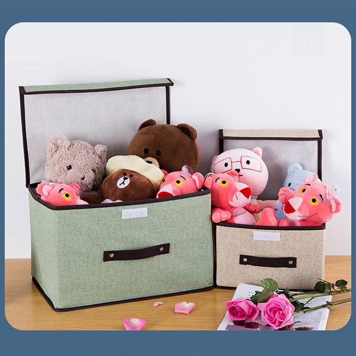 Combo 2 hộp vải đựng đồ thùng đựng quần áo đồ chơi đa năng bằng vải cứng cắp có nắp đậy tiện dụng bigsale