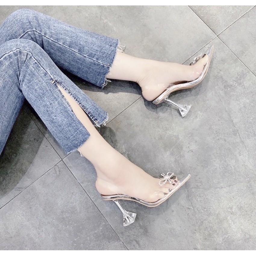 [Bán Buôn] Giày Dép Cao Gót Nữ👠 Sandal Nữ MêCa Nơ Bướm Cao 7cm Siêu Mềm Phù Hợp Đi Làm/ Đi Chơi