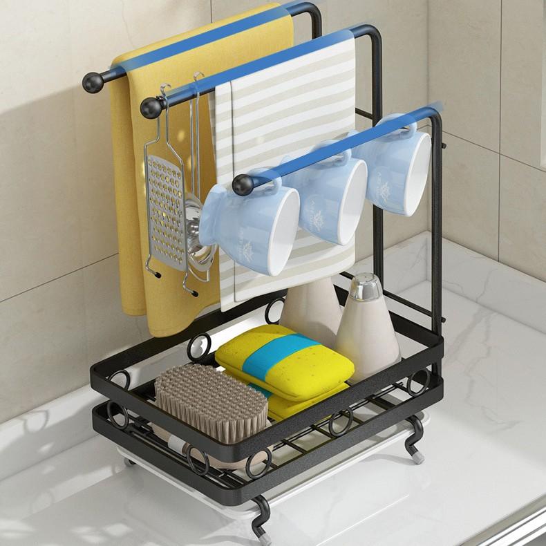 Giá Treo Khăn VANDO Kệ Để Miếng Rửa Bát, Chai Lọ, xà phòng Trên Bồn Rửa Trong Nhà Bêp, Nhà tắm