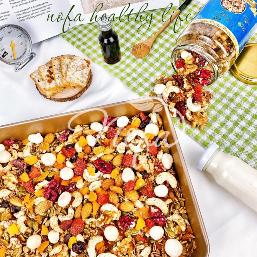 Granola siêu Hạt & Quả NOFA 600gr, Ngũ cốc giảm cân thêm Macca, Óc chó đỏ, Dâu tây