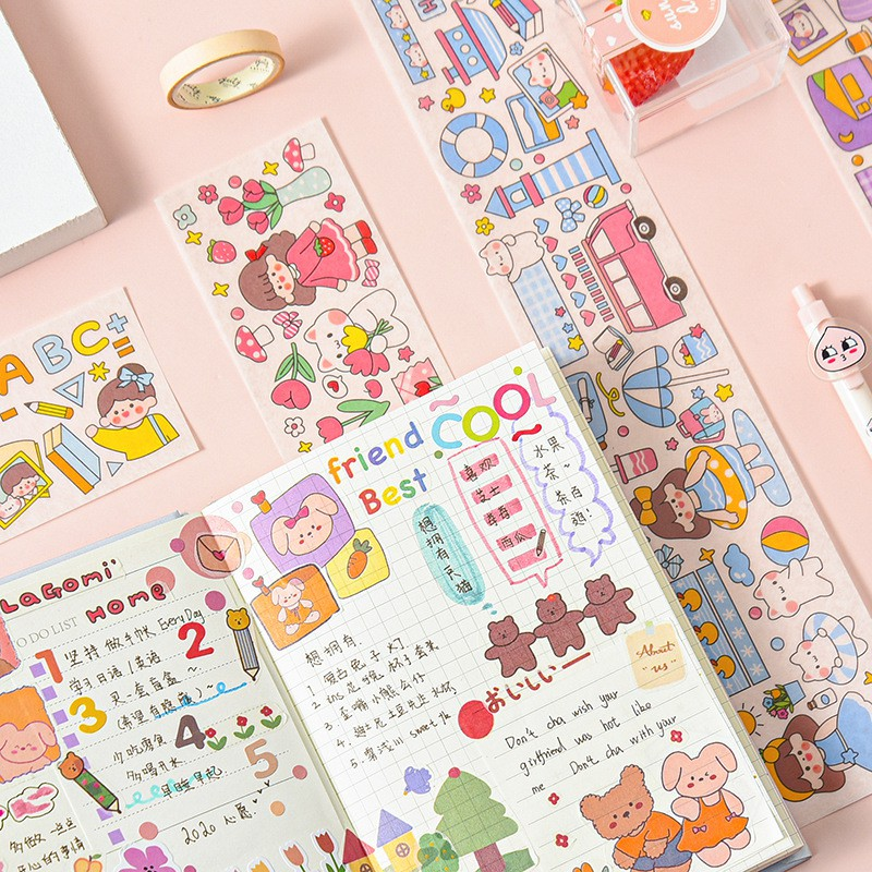 Sticker dán dài chống thấm nước hình cô bé và bữa tiệc nhiều hình - Giá sỉ rẻ nhất